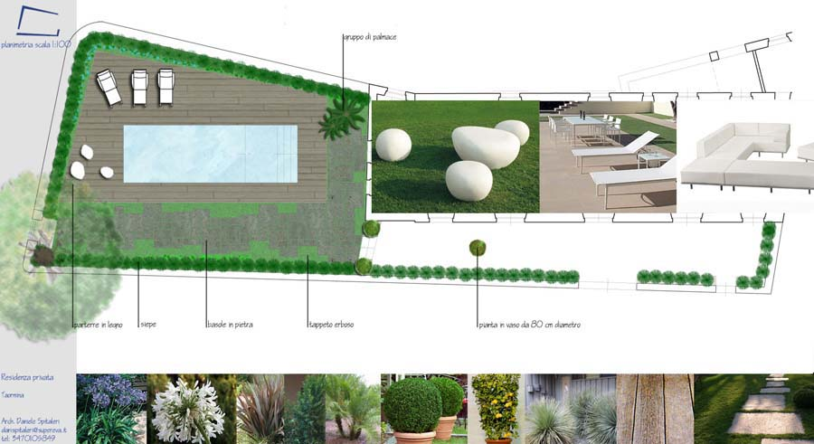 Giardino villa privata taormina messina planimetria generale daniele spitaleri - Progetto giardino privato ...